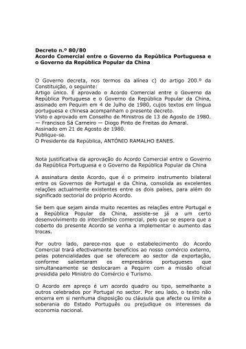 Acordo Comercial entre o Governo da República Portuguesa e o ...