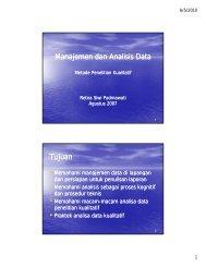 Manajemen dan Analisis Data Metode Penelitian Kualitatif - KMPK