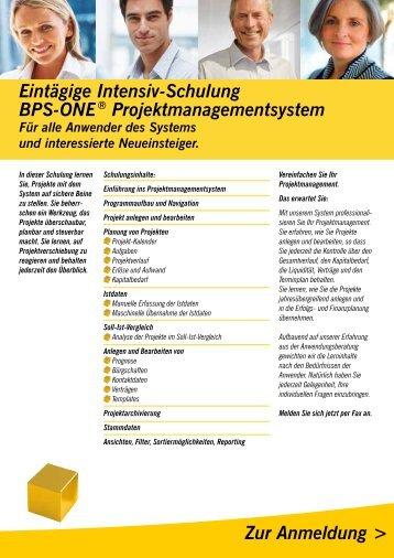 Eintägige Intensiv-Schulung BPS-ONE - Denzhorn