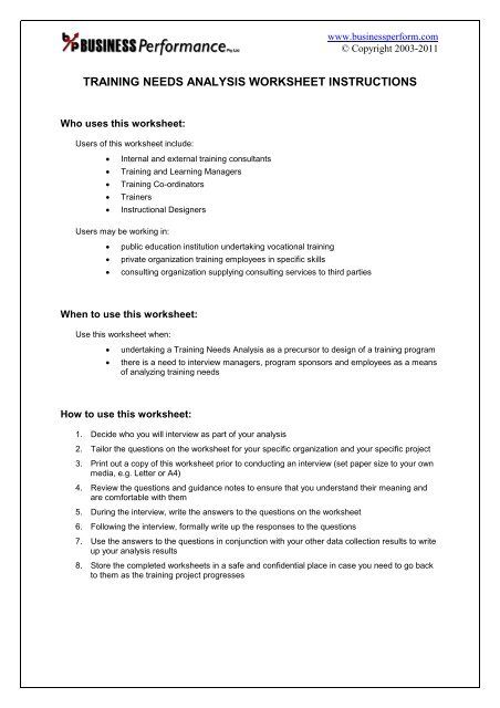 Training Needs Analysis Worksheet Sample Business Performance