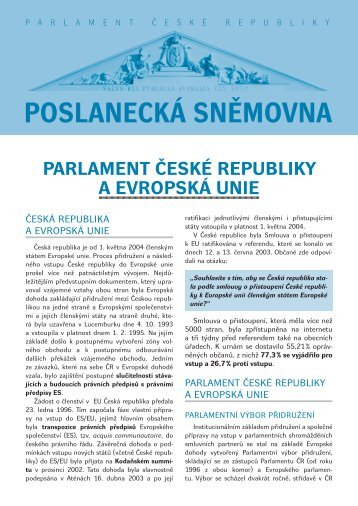 Parlament České rePubliky a evroPská unie - Poslanecká sněmovna