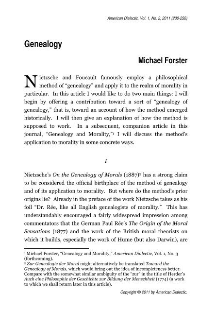Genealogy Michael Forster - American Dialectic