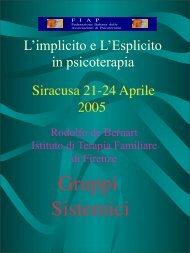 Gruppi Sistemici Siracusa 21 - Istituto di Terapia Familiare di Firenze