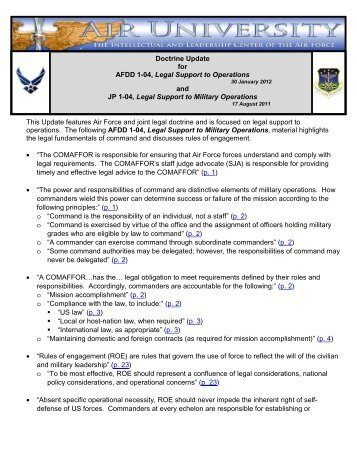 This Update features Air Force and joint legal doctrine and is ...
