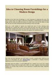 Idea to Choosing Room Furnishings for a Modern Design
