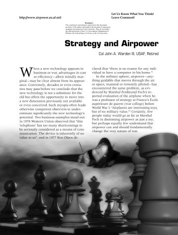 Strategy and Airpower - Air & Space Power Chronicle