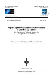 Improving the Organisational Effectiveness of Coalition Operations