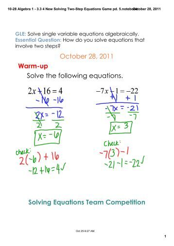 10-21 Algebra 1 - 3.2 2 Solving Single Step Equations Practice pd ...
