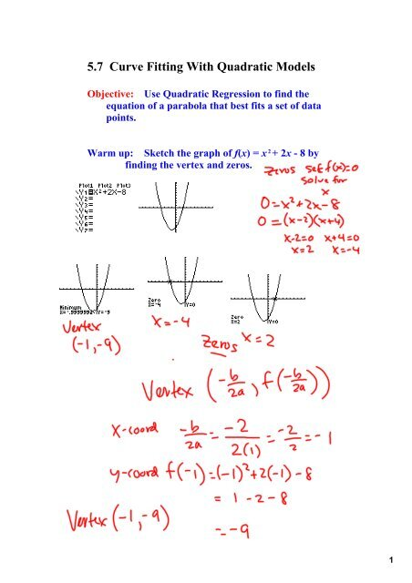 5 7 Curve Fitting With Quadratic Models Objective