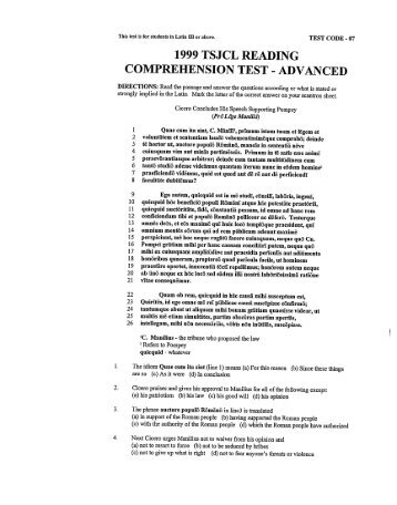 1998 area f reading comprehension test level one directions 1999 tsj cl reading comprehension test advanced fandeluxe Choice Image