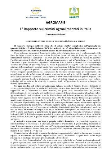 AGROMAFIE 1° Rapporto sui crimini agroalimentari in ... - Sos Impresa