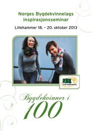Program Inspirasjonsseminar, Lillehammer 18 ... - Bygdekvinnelaget