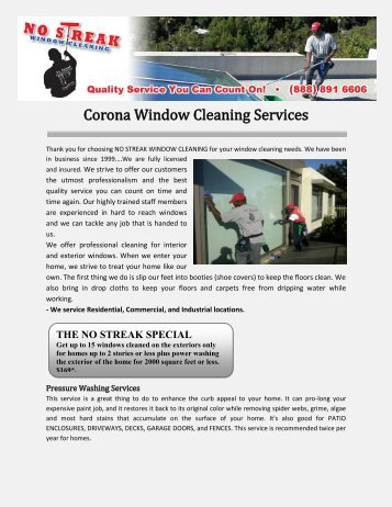 Corona Window Cleaning Services