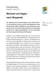 Wechsel von Hagen nach Wuppertal - E/D/E Einkaufsbüro ...