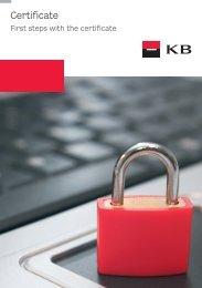 First steps with the certificate - Komerční banka