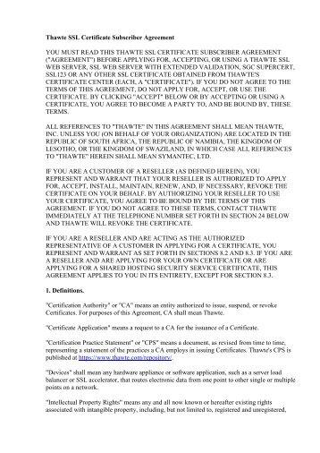 Thawte SSL Certificate Subscriber Agreement YOU ... - RU Center