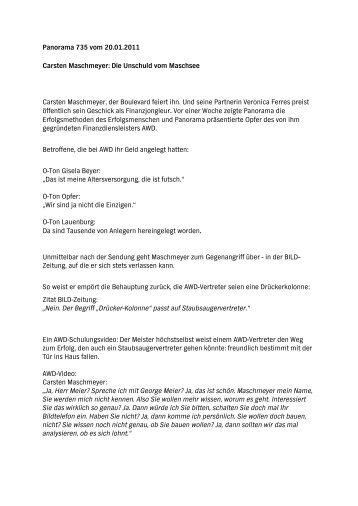 Panorama 735 vom 20.01.2011 Carsten Maschmeyer ... - Daserste.de