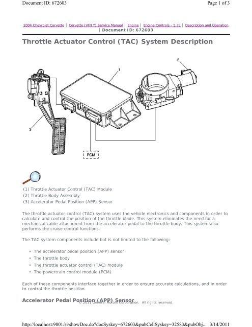 Throttle Actuator Control (TAC) System Description - LS2 com