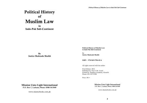 Political History of Muslim Law in Indo-Pak Sub-Continent - August