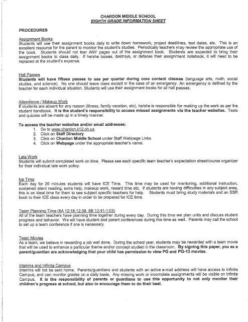 Chardon Middle School Eighth Grade Information Sheet Procedures
