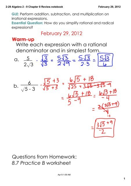 simplest form in algebra  17-1717 Algebra 17 - 17 Chapter 17 Review.notebook