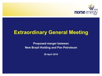 Presentation to Extraordinary General Meeting 26 ... - Panoro Energy