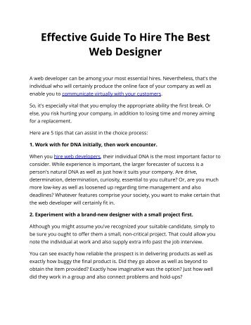 Effective Guide To Hire The Best Web Designer