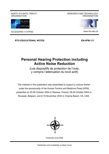 Personal Hearing Protection including Active Noise Reduction