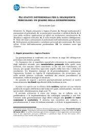 gli statuti differenziali per il delinquente pericoloso - Diritto Penale ...