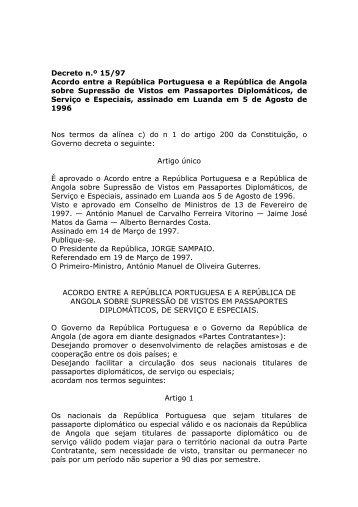 Acordo entre a República Portuguesa e a República de Angola ...