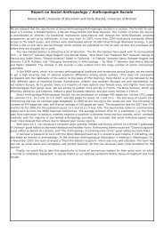 Report on Social Anthropology / Anthropologie Sociale - European ...