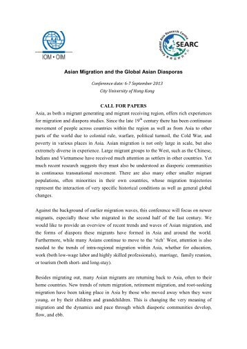 Asian Migration and the Global Asian Diasporas CALL FOR ...