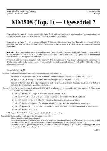 7 - Institut for Matematik og Datalogi - Syddansk Universitet
