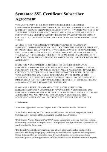 Symantec SSL Certificate Subscriber Agreement