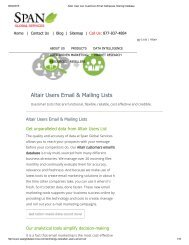 Purchase Tele Verified Altair Customers Mailing List from Span Global Services