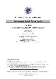 Dane podnikateľských subjektov - Vysoká škola manažmentu