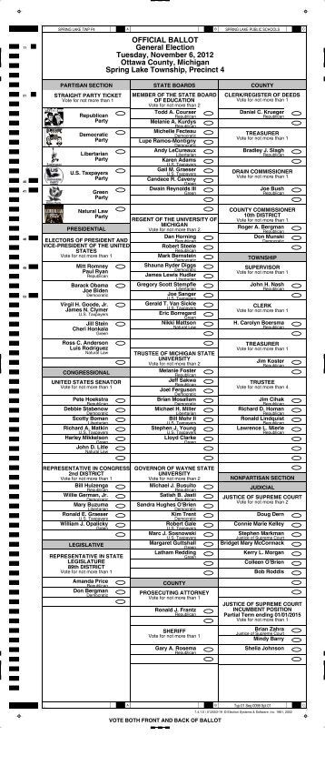 OFFICIAL BALLOT General Election Tuesday ... - Ottawa County