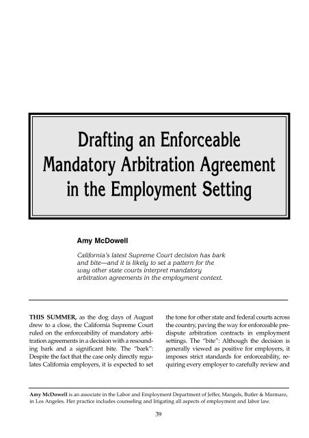 Drafting An Enforceable Mandatory Arbitration Agreement Ali Cle