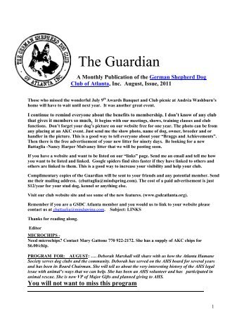 August Guardian - German Shepherd Dog Club of Atlanta