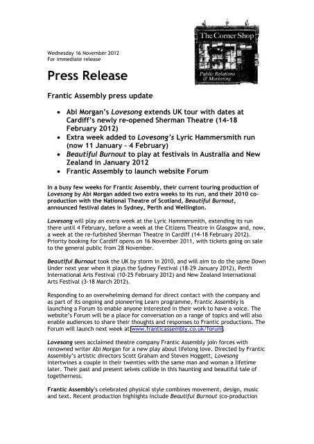 Press Release - Frantic Assembly