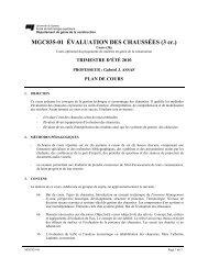 MGC835-01 ÉVALUATION DES CHAUSSÉES (3 cr.)
