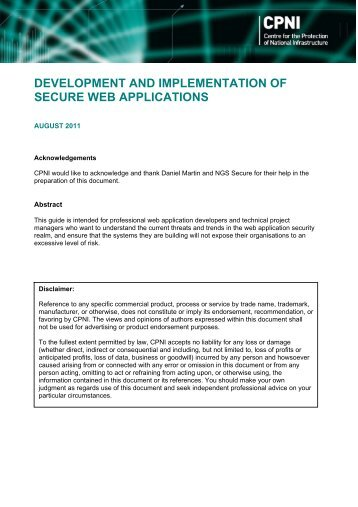 Development and implementation of Secure web applications - CPNI