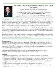 The Helen M. McLoraine Nonprofit Employee Scholarship Program
