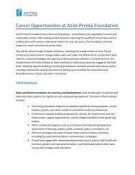 Career Opportunities at Azim Premji Foundation