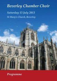 Programme - Beverley Chamber Choir