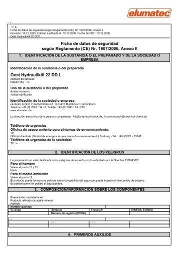 Ficha de datos de seguridad según Reglamento (CE) Nr ... - Elumatec