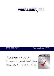 Platinum Product Test Report Kaspersky Lab Anti ... - West Coast Labs
