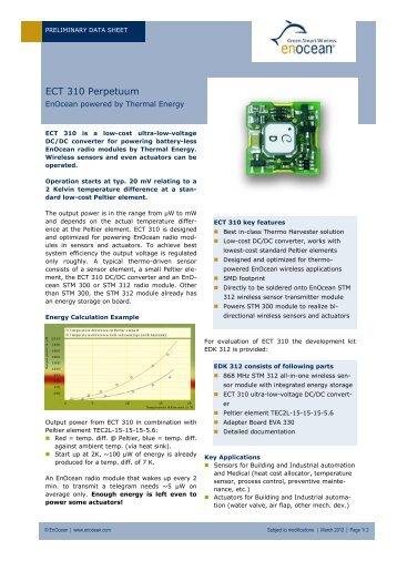 Datasheet: Thermal Energy Harvester ECT 100 ... - EnOcean