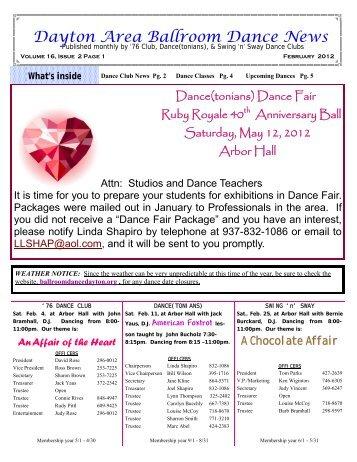 16 02 February 2012 Newsletter - Ballroom Dance Dayton