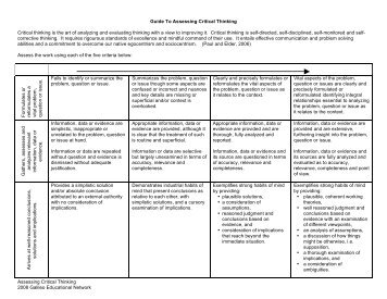 Guide To Assessing Critical Thinking - Alberta 1:1 Wireless Learning ...